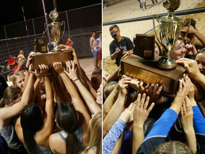 Perry (Div. I) and Fountain Hills (Div. II) celebrate