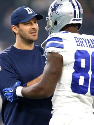 The Cowboys' season has been derailed by injuries to QB Tony Romo, left, and WR Dez Bryant.