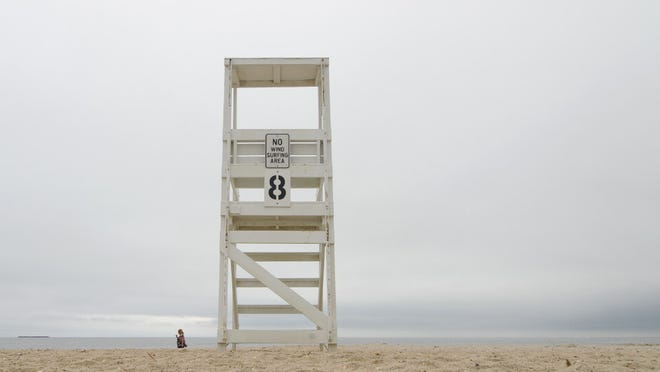 West Dennis Beach was quiet on a rainy Monday.