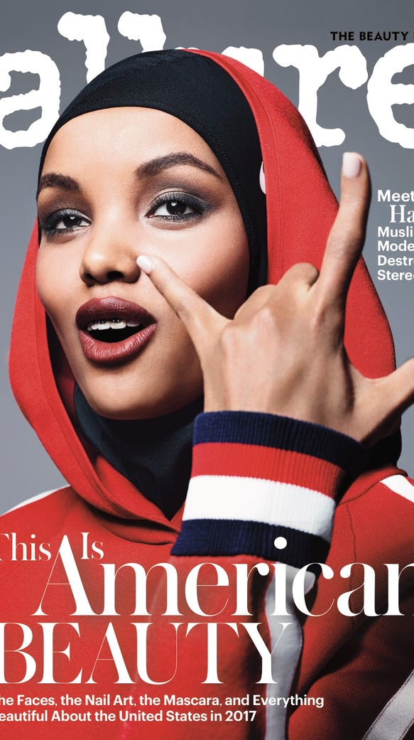 Halima Aden on the July cover of 'Allure' magazine.