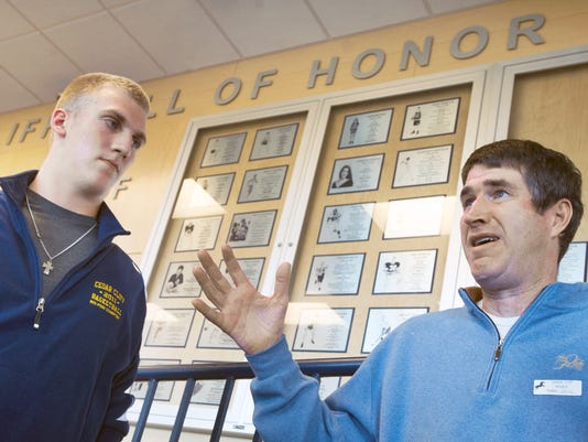 Adam Breneman, left, and Tom Kirchhoff talk about their football days at Cedar Cliff High and of Kirchhoff's battle with ALS.