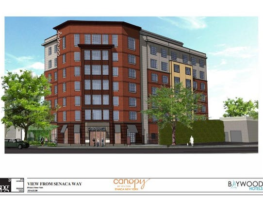 A rendering of the proposed Hilton Canopy hotel, as
