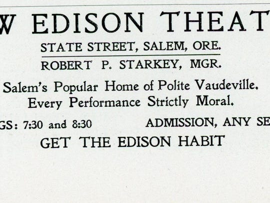 """Advertisement for the New Edison Theatre in Salem which featured regular movie showings as part of its vaudeville line up on their """"Edison-o-scope."""""""