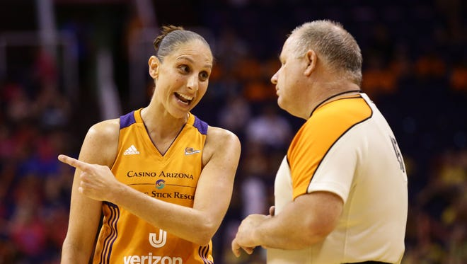 Phoenix Mercury guard Diana Taurasi questions a foul call against the Indiana Fever on Wednesday, Jul 19, 2017 at Taking Stick Resort Arena in Phoenix, Ariz.