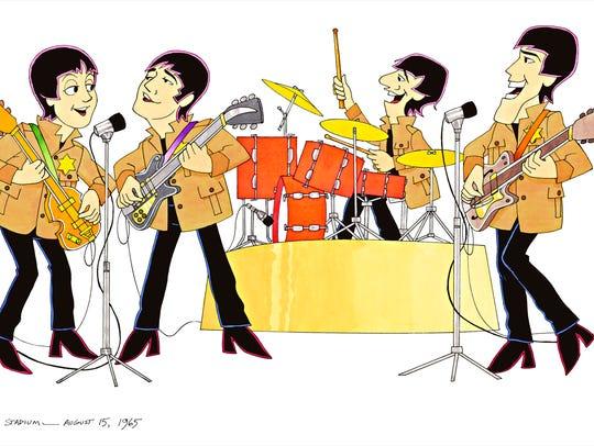 An animated cartoon frame of the Beatles at Shea Stadium