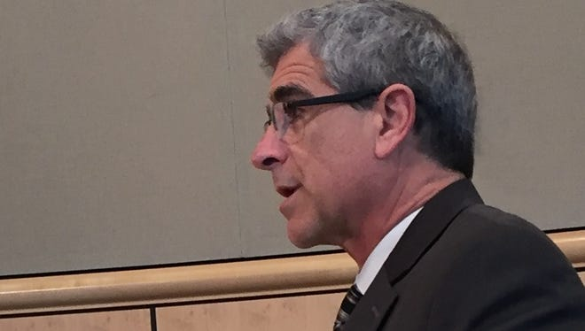 Richard Simon, Shasta County Resource Management Division director, addresses the county Board of Supervisors on Tuesday about short-term rentals.