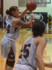 McMurry's Skyler Reyna shoots a 3-pointer while teammate
