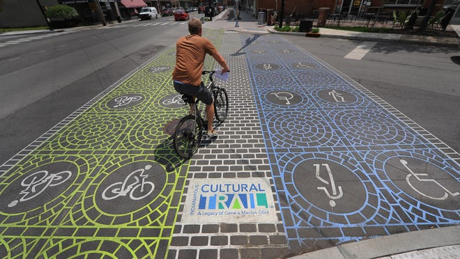 The Indianapolis Cultural Trail, one of the coolest urban routes in the state, winds through Downtown.