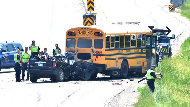 An accident involving an SUV and a school bus on I-94 near U.S. 23 in Pittsfield Townhship resulted in one dead and seven injured. Three infants were among the victims.