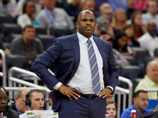 Nov 20, 2017; Orlando, FL, USA; Indiana Pacers head coach Nate McMillan looks on against the Orlando Magic during the first quarter at Amway Center. Mandatory Credit: Kim Klement-USA TODAY Sports