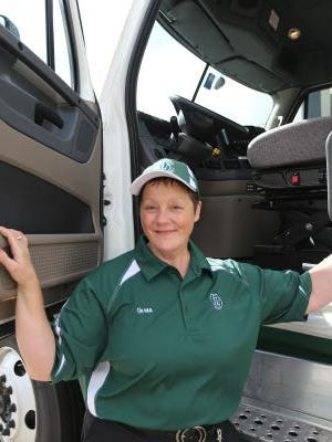 Verna Gillen, seen at Old Dominion Freight Line, Tuesday, July 8, 2014, is the first female truck driver to ever place first in the Indiana Truck Driving Championship.
