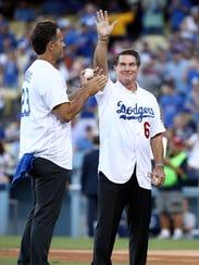 Former Los Angeles Dodgers Steve Garvey waves to the