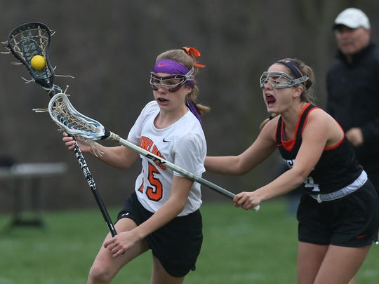 Pawling's Morgan McCarthy drives to the goal against Croton during an April 2017 game.