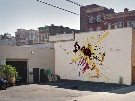 """""""Democracy"""" by Ralph Steadman at 1200 Walnut St. His work will appear on two walls of the Coffee Emporium's Roasting House."""