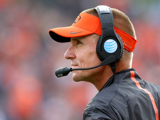 Oregon State head coach Gary Andersen on the sidelines against Weber State during the first half at Reser Stadium, Friday, September 4, 2015, in Corvallis.