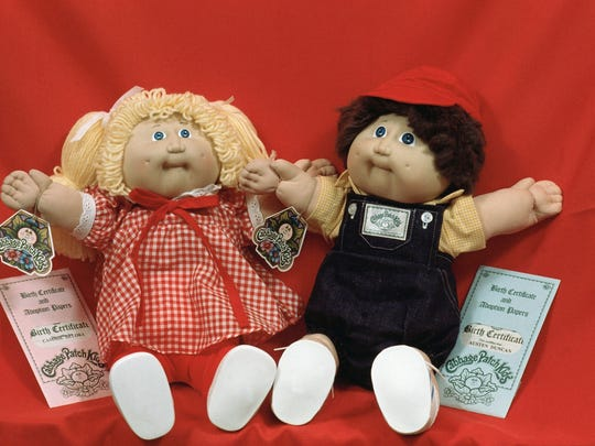 Cabbage Patch Kids are shown on display in Boston on