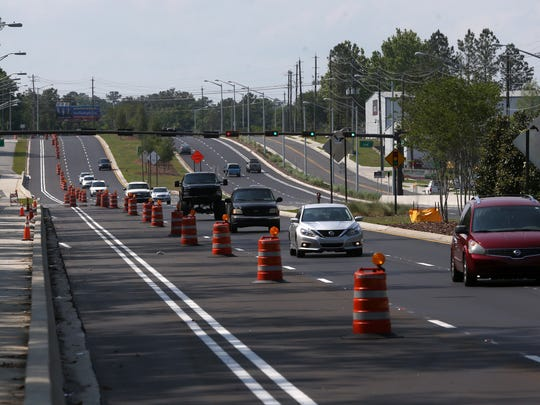 A 3-mile stretch of Capital Circle, north of Blountstown Highway, narrows from three lanes to one for drivers on the road Friday, April 28, 2017.