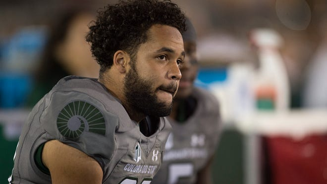 CSU safety Justin Sweet watches from the sidelines during the Rams' 38-17 loss Oct. 1 to Wyoming at Hughes Stadium.