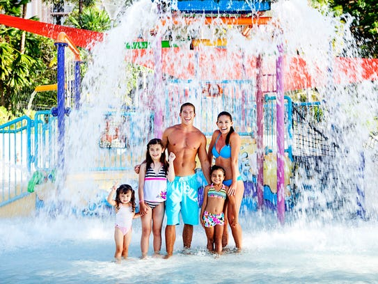 The water park at the Pacific Island Club offers fun