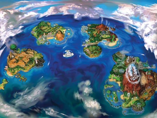"The Alola region in ""Pokemon Sun and Moon"" features several islands."