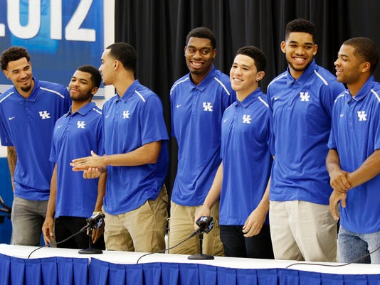 Willie Cauley-Stein, Andrew Harrison, Trey Lyles, Dakari Johnson, Devon Booker, Karl-Anthony Towns, Aaron Harrison