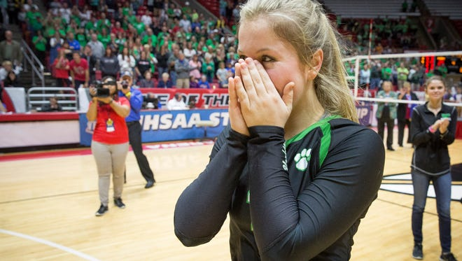Yorktown's Olivia Reed is overtaken with emotion after being announced as the Mental Attitude Award recipient for Yorktown. The recipient of the award is given a $1,000 scholarship by Indiana Farm Bureau Insurance.