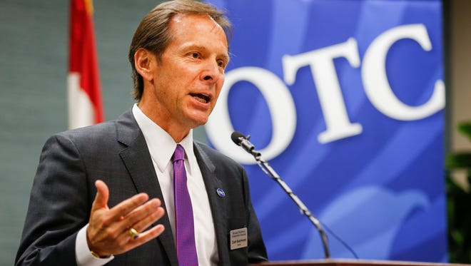 Chip Sheppard, elected to the OTC Board of Trustees in April 2014, resigned Monday citing a hectic schedule.