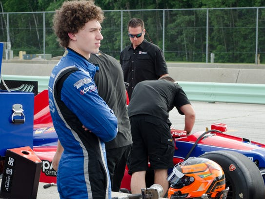 Indy Lights driver Matheus Leist waits for an opportunity