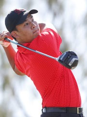 Derrick Liu of Palm Desert High School participates in the DVL Boys' Final at the Classic Golf Club in Palm Desert on April 26, 2018.