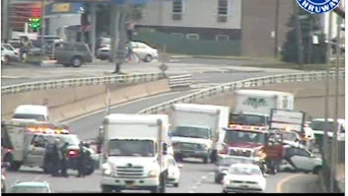 Accident, at right, on southbound Interstate 87 between Exits 2 and 1 in Yonkers on June 27, 2014, as seen in a state Thruway Authority traffic camera image. It was later cleared.