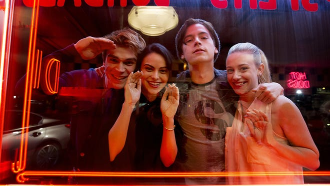 Starring in Riverdale are, from left, KJ Apa as Archie, Camila Mendes as Veronica, Cole Sprouse as Jughead and Lili Reinhart as Betty.