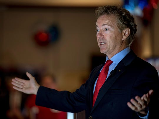 Sen. Rand Paul, R-Ky., speaks to supporters gathered