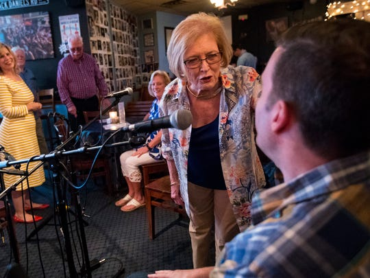 Margaret Dantzler talks with her nephew JP Williams before Williams performs at the Bluebird Cafe in Nashville, Tenn. on Friday, July 27, 2018. Williams said it was a special night because it was the first time his aunt would watch him perform at the Bluebird Cafe.