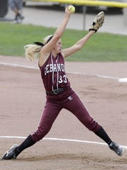 Lebanon picher Tara Trainer delivers a pitch in the first inning.