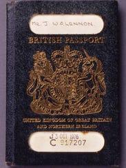 The traditional blue U.K. passport that belonged to John Lennon.