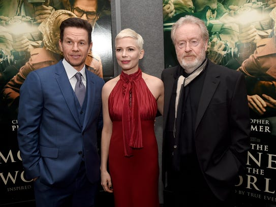 Mark Wahlberg, Michelle Williams and Ridley Scott at