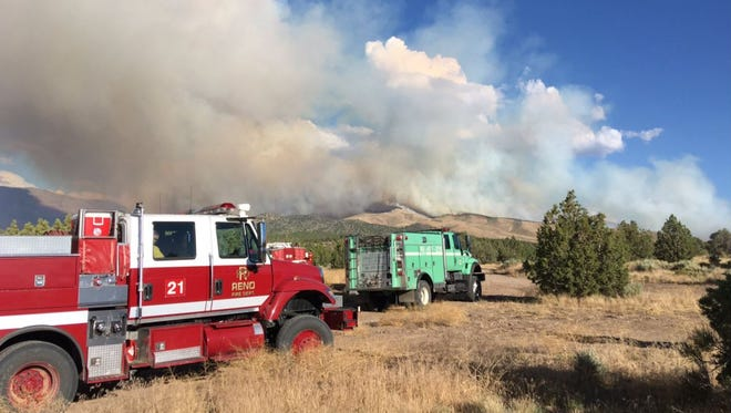 The Reno Fire Department was on scene at the Preacher Fire Tuesday, July 25, 2017.