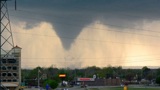 A tornado touches down in Tulsa, Okla., on  March 30, 2016. More tornadoes are possible in the central U.S. on April 26.