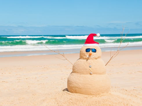 Check-in at some Caribbean resorts over the holidays includes a kit to make a sandman on the beach.
