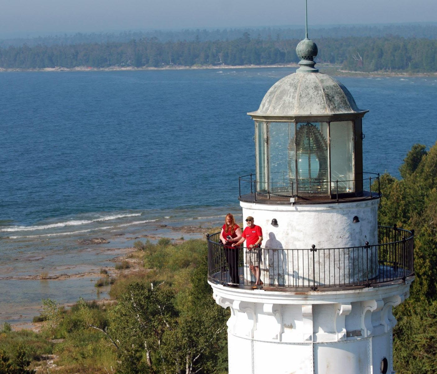 Visitors can climb the 97 steps to the top the Cana Island Lighthouse tower for a birds-eye view of Lake Michigan and Door County.
