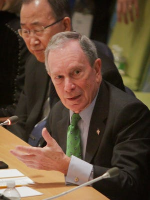 Former New York mayor Michael Bloomberg, shown speaking at the United Nations, is considering an independent bid for the White House.