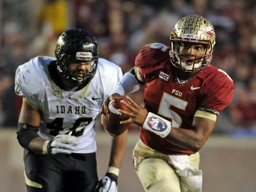 Florida State QB Jameis Winston completed 14 of 25 passes for 225 yards and four touchdowns in the Seminoles' 80-14 win over Idaho.