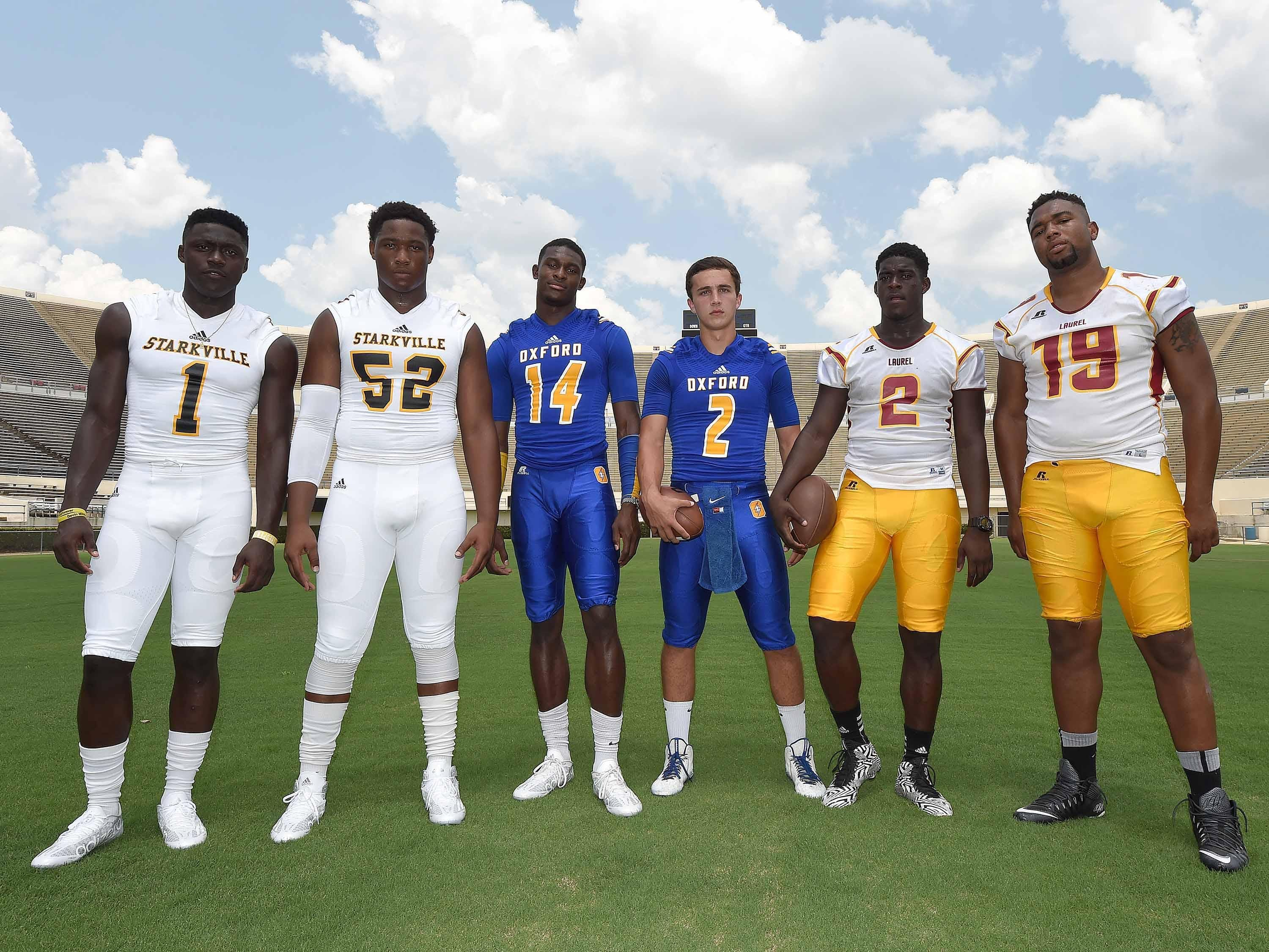 The 2015 Dandy Dozen included three pairs of teammates from Starkville, Oxford and Laurel. From left, A.J. Brown, Kobe Jones, D.K. Metcalf, Jack Abraham, Keon Howard and Octavious Cooley.