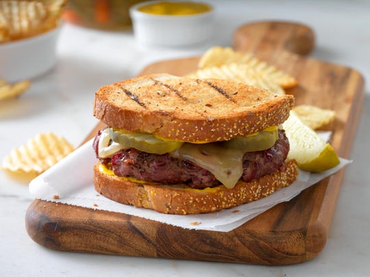 Deli burgers combine ground beef and chopped corned beef.