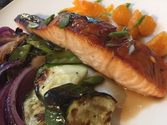 Test Kitchen recipe: Salmon and chopped vegetables: Sheet pan supper is ready in 30 minutes