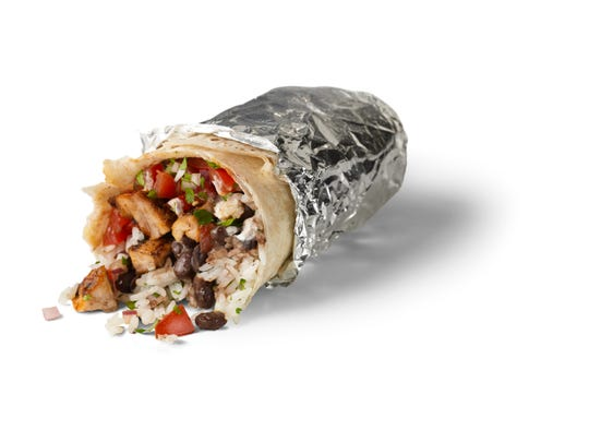 A Chipotle chicken burrito wrapped in foil