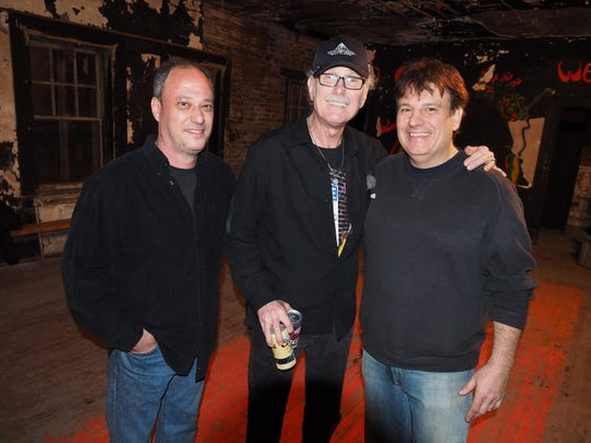 """Upstage Club owner Rich Yorkowitz (left) with Vini """"Mad Dog"""" Lopez and DJ Rich Russo at the Upstage Club in Asbury Park on Friday."""