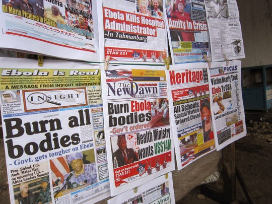A newsstand in Monrovia, Liberia, on Thursday displays front pages focusing on the Ebola outbreak.