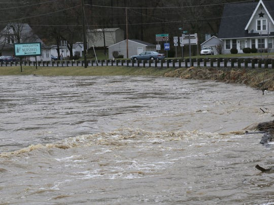 The Clear Fork river rumbles along its banks along