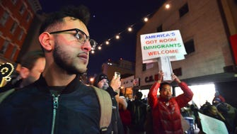 Kareim Ghoneim of Jersey City shows his support at a January 2017 rally in Jersey City against a refugee and Muslim ban.
